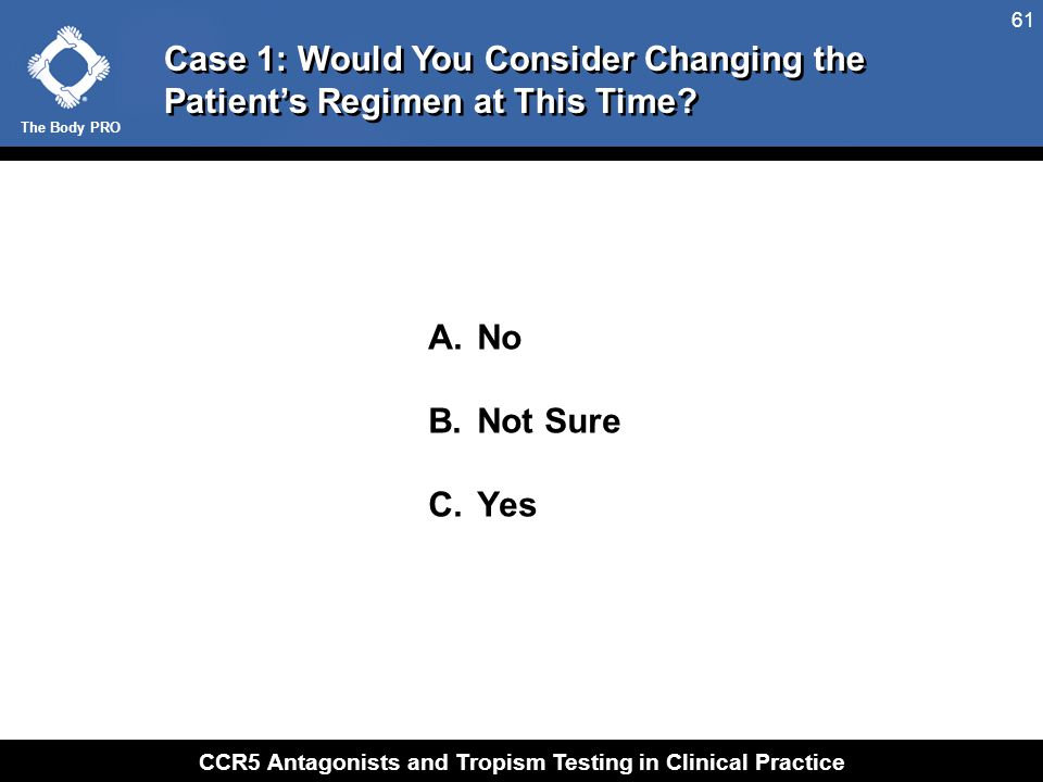 The Body PRO CCR5 Antagonists and Tropism Testing in Clinical Practice 61 A. No B. Not Sure C. Yes Case 1: Would You Consider Changing the Patient's R