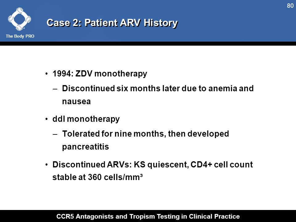 The Body PRO CCR5 Antagonists and Tropism Testing in Clinical Practice 80 Case 2: Patient ARV History 1994: ZDV monotherapy –Discontinued six months l