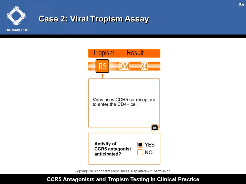 The Body PRO CCR5 Antagonists and Tropism Testing in Clinical Practice 85 Case 2: Viral Tropism Assay Tropism Result Copyright © Monogram Biosciences.