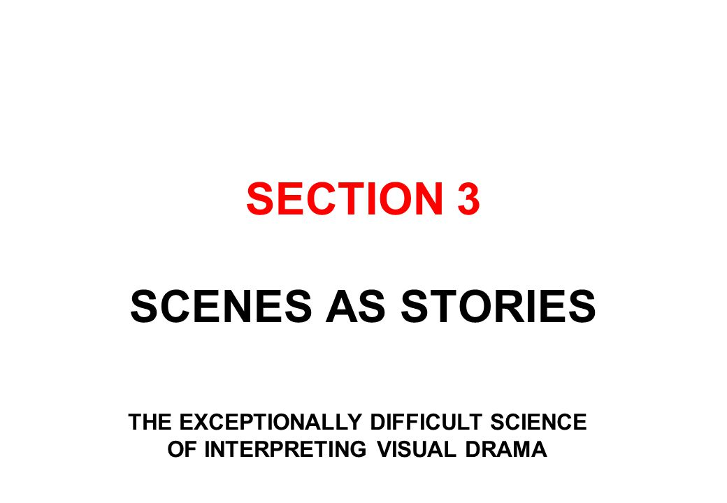 SECTION 3 SCENES AS STORIES THE EXCEPTIONALLY DIFFICULT SCIENCE OF INTERPRETING VISUAL DRAMA