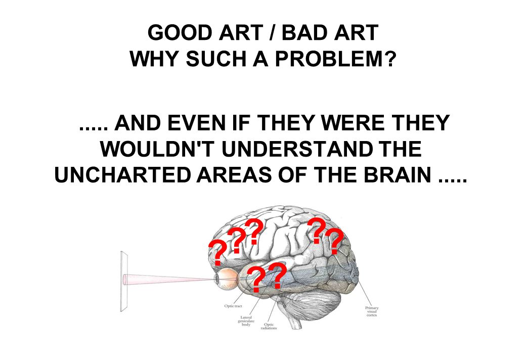BECAUSE ART EXPERTS ARE NOT BRAIN EXPERTS..... GOOD ART / BAD ART WHY SUCH A PROBLEM