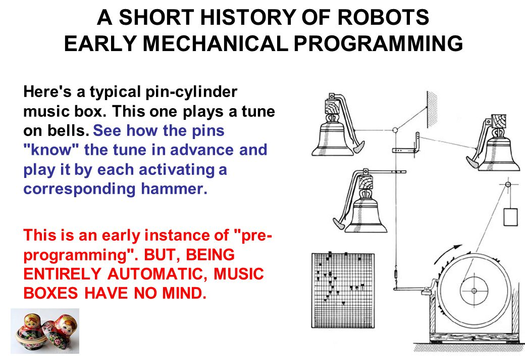 A SHORT HISTORY OF ROBOTS EARLY AUTOMATA Here s an automaton from around 2000 years ago.