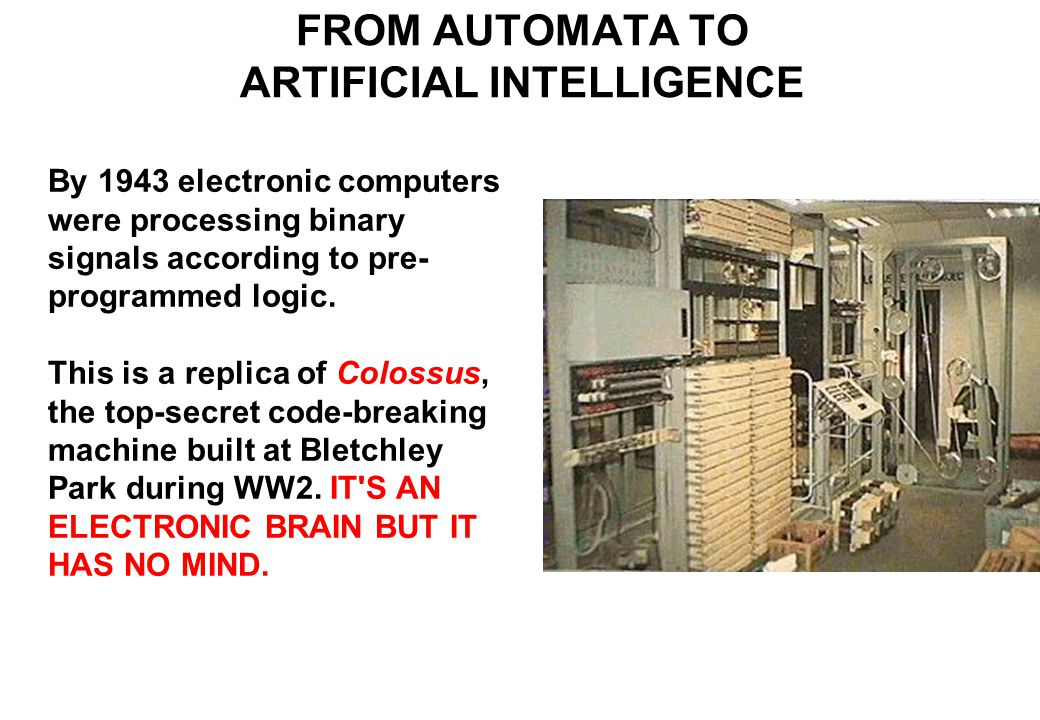 By 1943 electronic computers were processing binary signals according to pre- programmed logic.