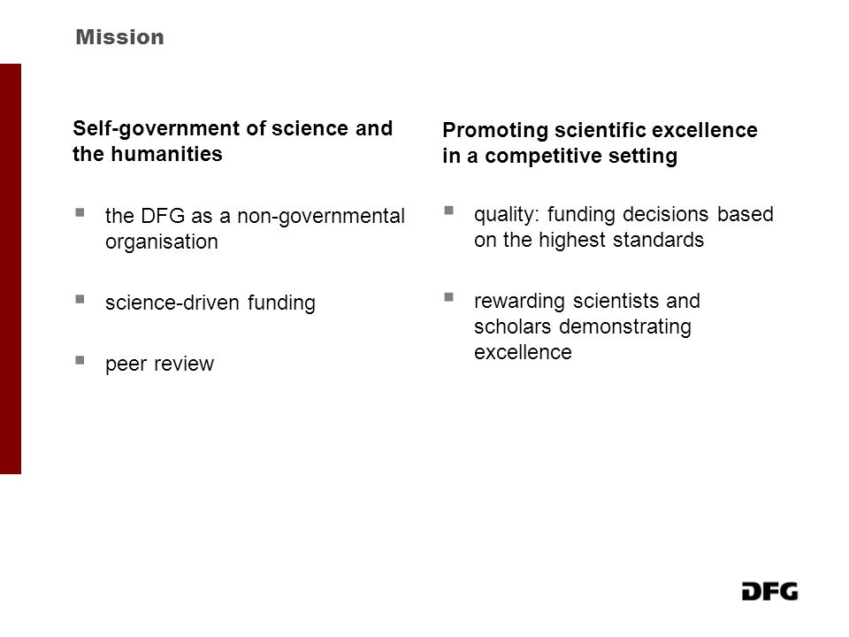  the DFG as a non-governmental organisation  science-driven funding  peer review Mission Self-government of science and the humanities  quality: f