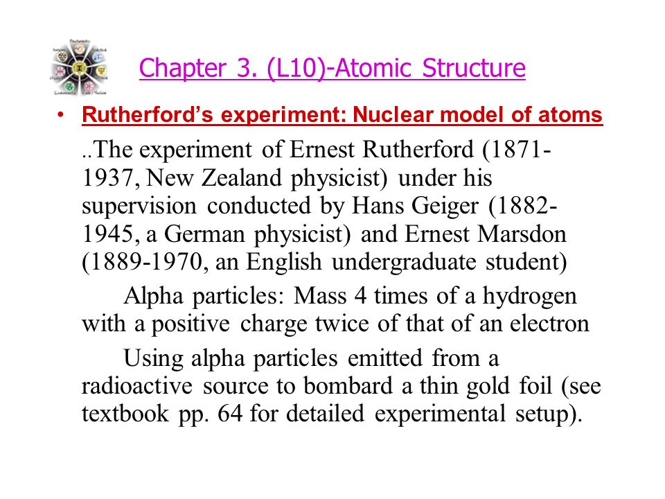 Chapter 3. (L10)-Atomic Structure Rutherford's experiment: Nuclear model of atoms..