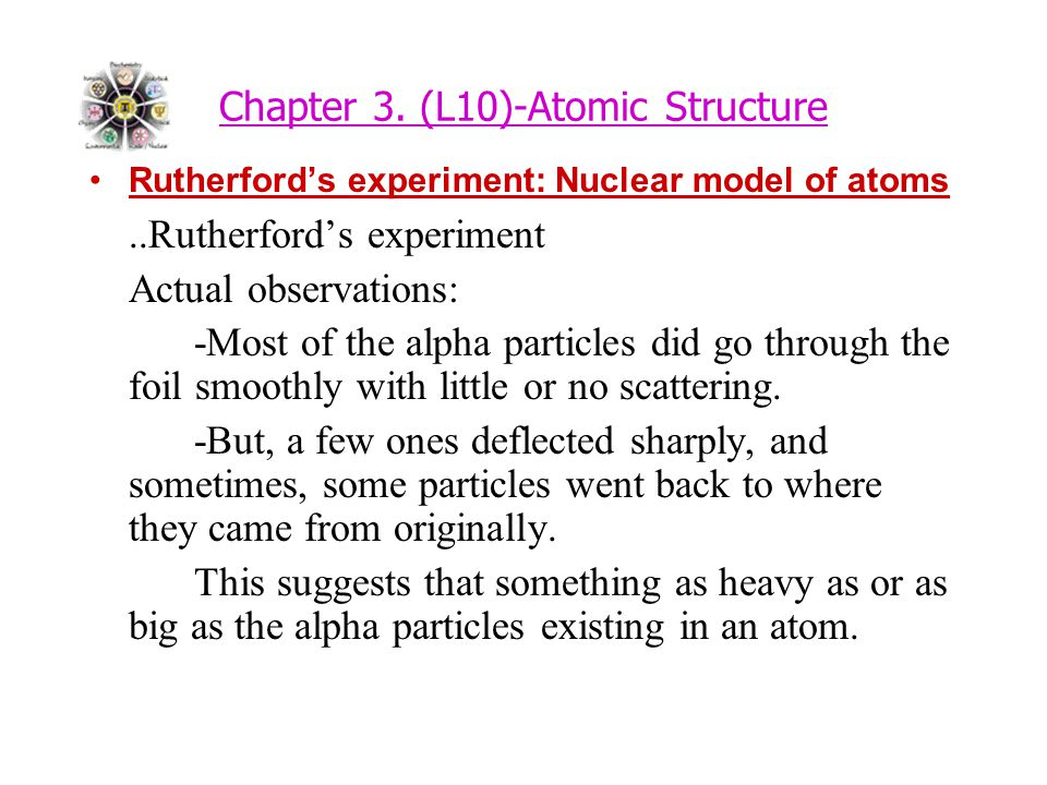 Chapter 3. (L10)-Atomic Structure Rutherford's experiment: Nuclear model of atoms..Rutherford's experiment Actual observations: -Most of the alpha par