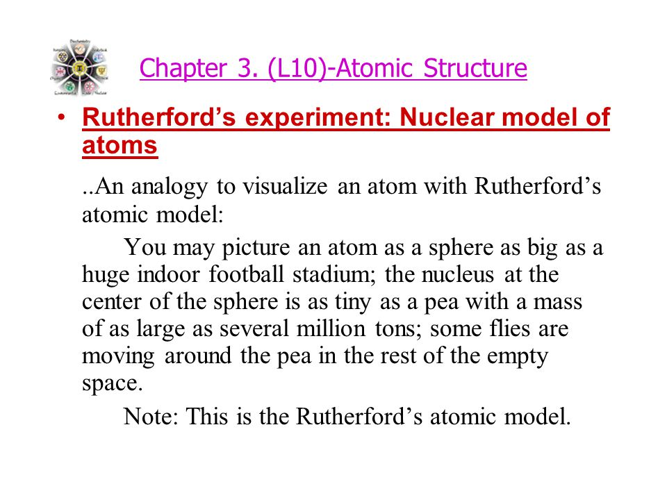 Chapter 3. (L10)-Atomic Structure Rutherford's experiment: Nuclear model of atoms..An analogy to visualize an atom with Rutherford's atomic model: You
