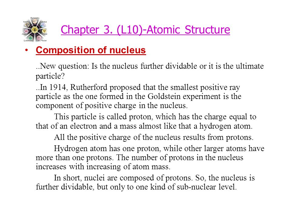 Chapter 3. (L10)-Atomic Structure Composition of nucleus..New question: Is the nucleus further dividable or it is the ultimate particle?..In 1914, Rut