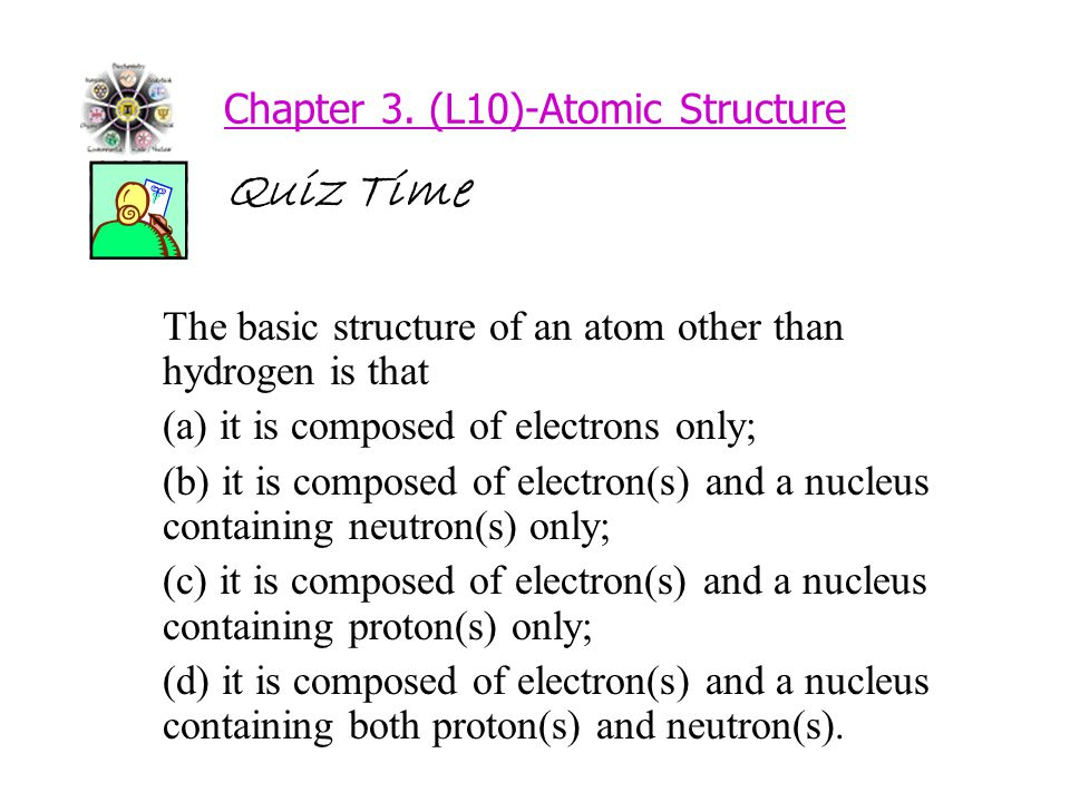 Chapter 3. (L10)-Atomic Structure Quiz Time The basic structure of an atom other than hydrogen is that (a) it is composed of electrons only; (b) it is