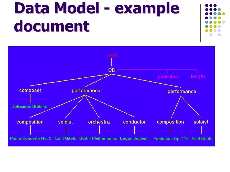 Node values each attribute and element node has a value e.g., value of length attribute node is PT1H13M37S value of an element node is concatenation of all text node descendants e.g., value of composer element node is Johannes Brahms e.g., value of second performance element node is Fantasias Op.