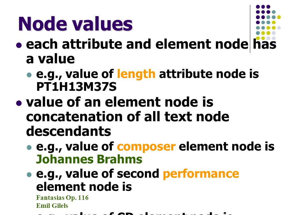 XPath expressions an XPath expression is either an absolute expression or a relative expression an absolute expression starts with / is followed by a relative expression and is evaluated starting at the root node a relative expression is a sequence of location steps each separated by / example (absolute expression comprising 2 steps): /CD/composer