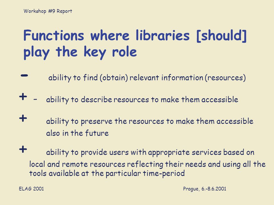 Workshop #9 Report ELAG 2001 Prague, 6.-8.6.2001 Functions where libraries [should] play the key role - ability to find (obtain) relevant information (resources) + - ability to describe resources to make them accessible + ability to preserve the resources to make them accessible also in the future + ability to provide users with appropriate services based on local and remote resources reflecting their needs and using all the tools available at the particular time-period