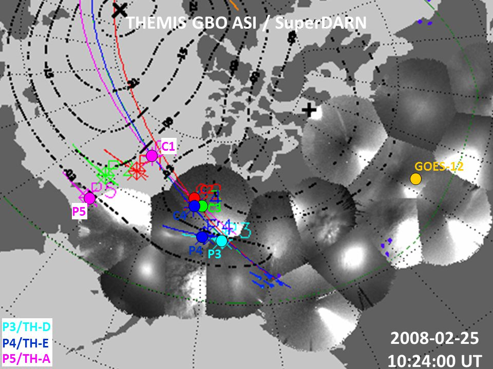 THEMIS GBO ASI / SuperDARN 2008-02-25 10:24:00 UT P5/TH-A P3/TH-D P4/TH-E C2 C1 C3 C4 GOES-12 P3 P4 P5