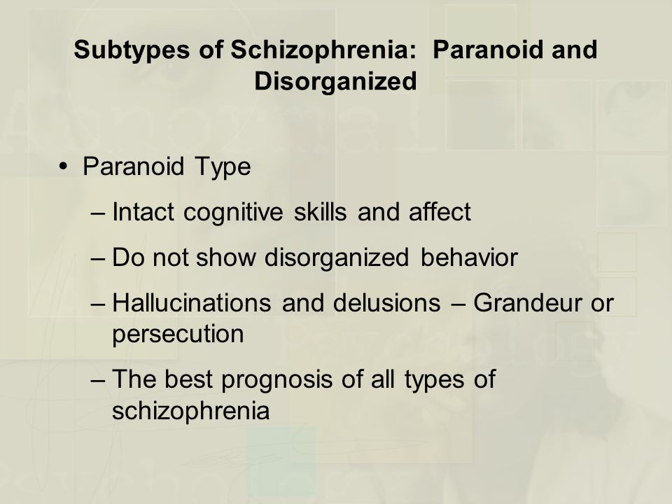 Subtypes of Schizophrenia: Paranoid and Disorganized  Paranoid Type –Intact cognitive skills and affect –Do not show disorganized behavior –Hallucinations and delusions – Grandeur or persecution –The best prognosis of all types of schizophrenia