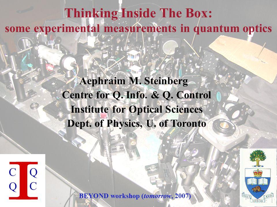 DRAMATIS PERSONÆ Toronto quantum optics & cold atoms group: Postdocs: An-Ning Zhang(  IQIS) Morgan Mitchell (  ICFO) (HIRING!)Matt Partlow(  Energetiq)Marcelo Martinelli (  USP) Optics: Rob AdamsonKevin Resch(  Wien  UQ  IQC) Lynden(Krister) ShalmJeff Lundeen (  Oxford) Xingxing XingReza Mir (  geophysics) Atoms: Jalani Fox (  Imperial)Stefan Myrskog (  BEC  ECE) (SEARCHING!)Mirco Siercke ( ...?)Ana Jofre(  NIST  UNC) Samansa ManeshiChris Ellenor Rockson Chang Chao Zhuang Xiaoxian Liu UG's: Max Touzel, Ardavan Darabi, Nan Yang, Michael Sitwell, Eugen Friesen Some helpful theorists: Pete Turner, Michael Spanner, Howard Wiseman, János Bergou, Masoud Mohseni, John Sipe, Paul Brumer,...