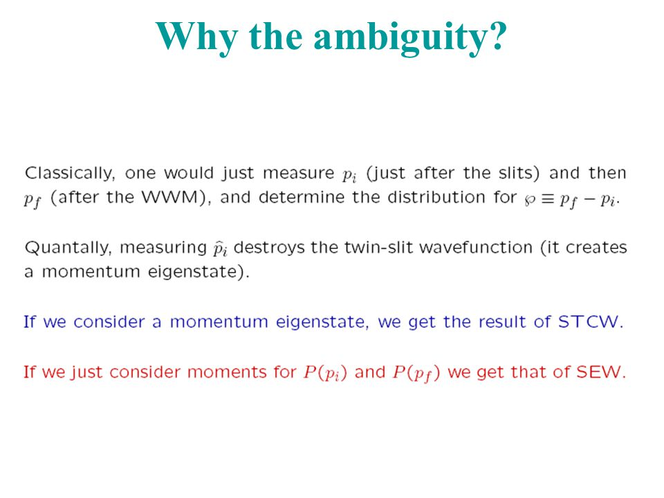 Why the ambiguity