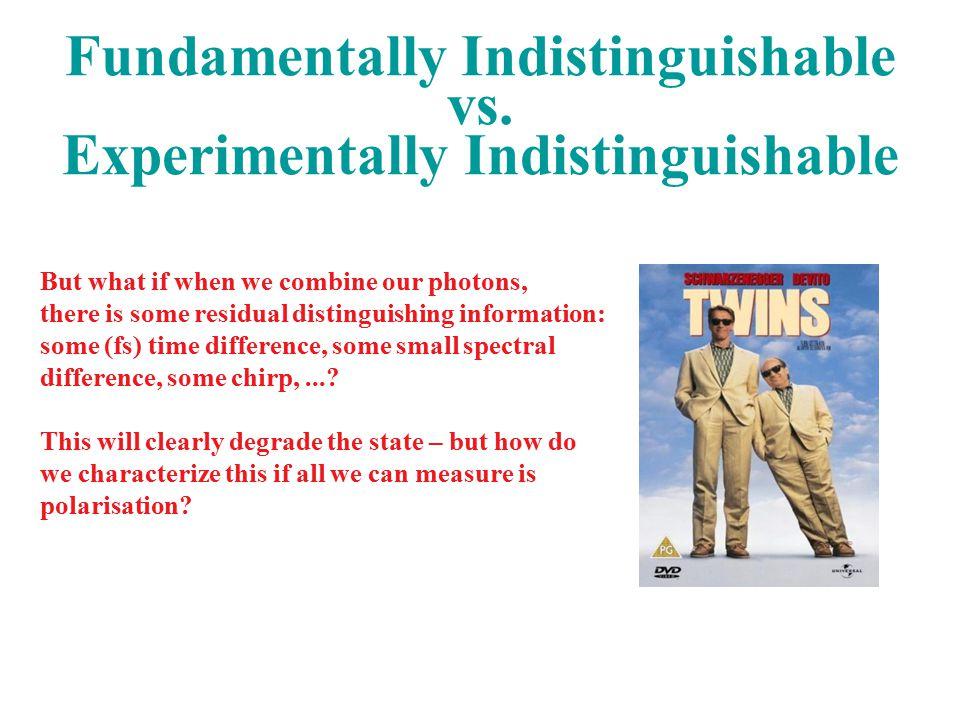 Fundamentally Indistinguishable vs.