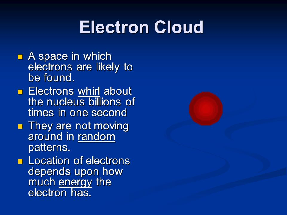 Electron Cloud A space in which electrons are likely to be found. A space in which electrons are likely to be found. Electrons whirl about the nucleus