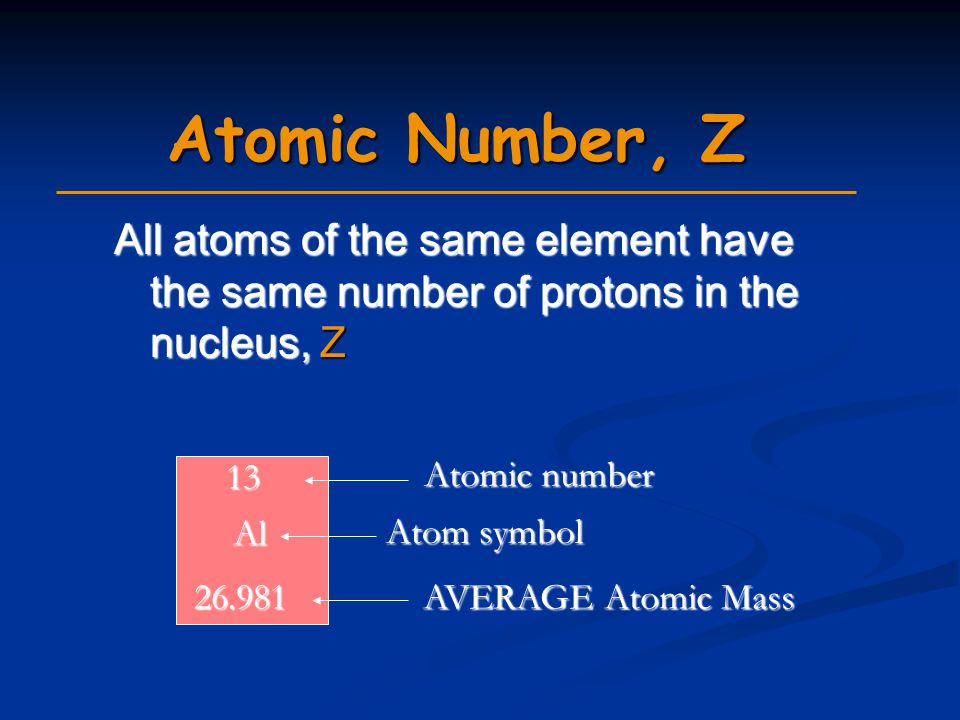 Atomic Number, Z All atoms of the same element have the same number of protons in the nucleus, Z 13 Al 26.981 Atomic number Atom symbol AVERAGE Atomic