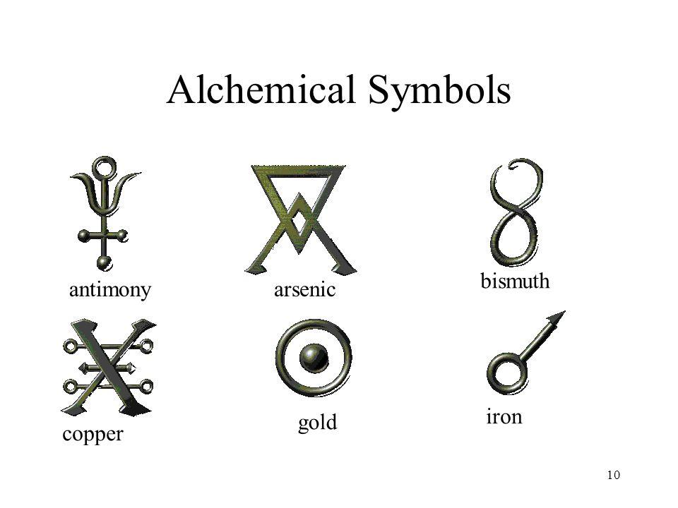 10 Alchemical Symbols antimonyarsenic bismuth copper gold iron