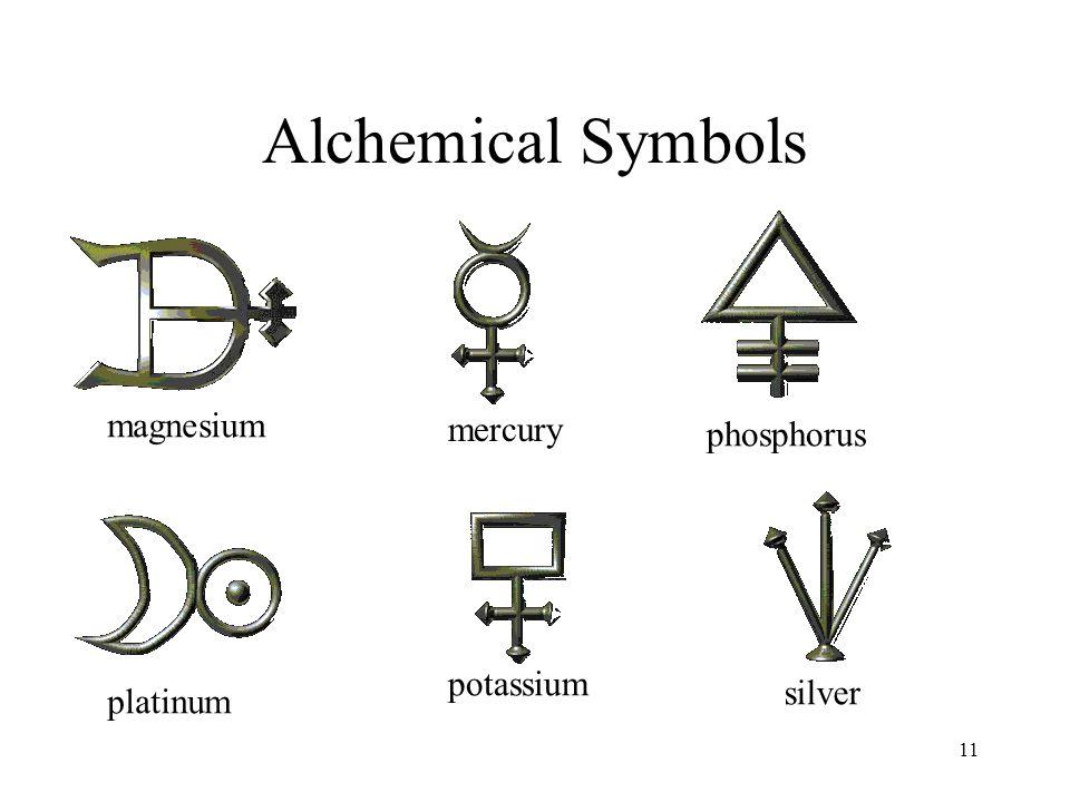 11 Alchemical Symbols magnesium mercury phosphorus platinum potassium silver
