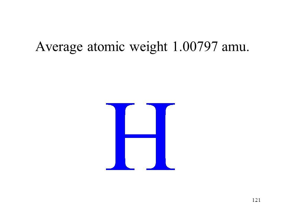 121 Average atomic weight 1.00797 amu.