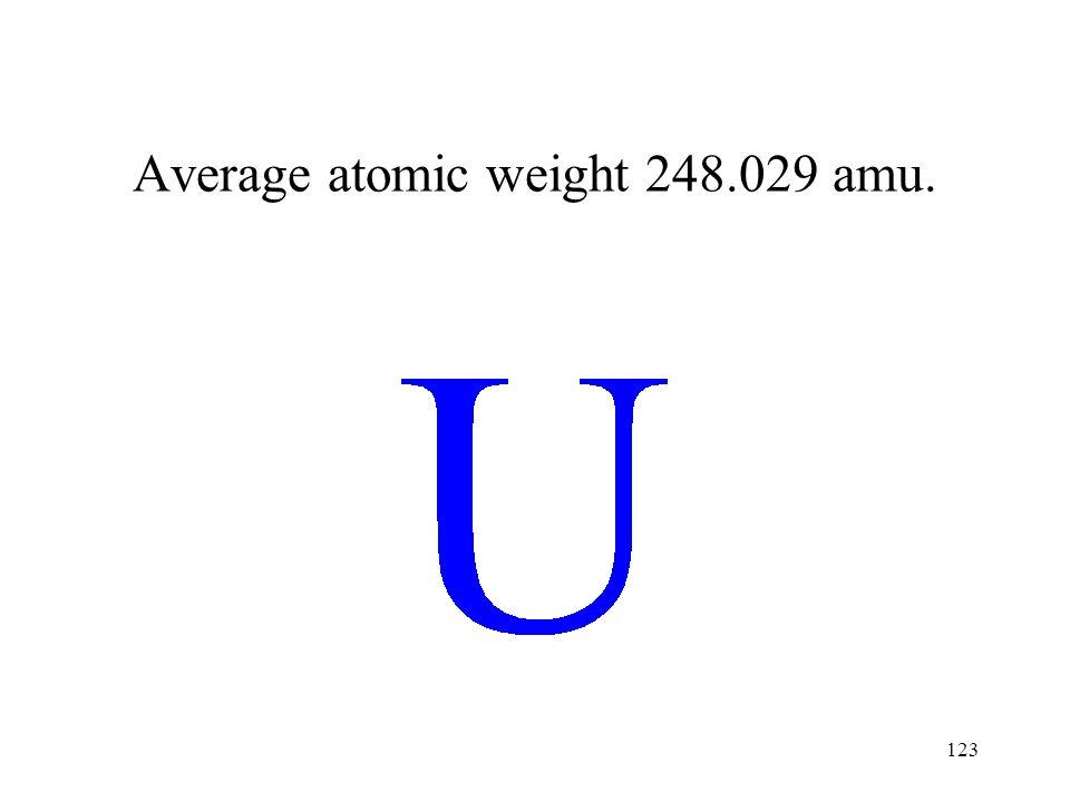 123 Average atomic weight 248.029 amu.