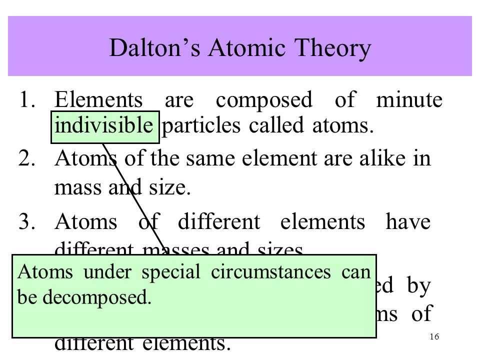 16 2.Atoms of the same element are alike in mass and size. 3.Atoms of different elements have different masses and sizes. 4.Chemical compounds are for