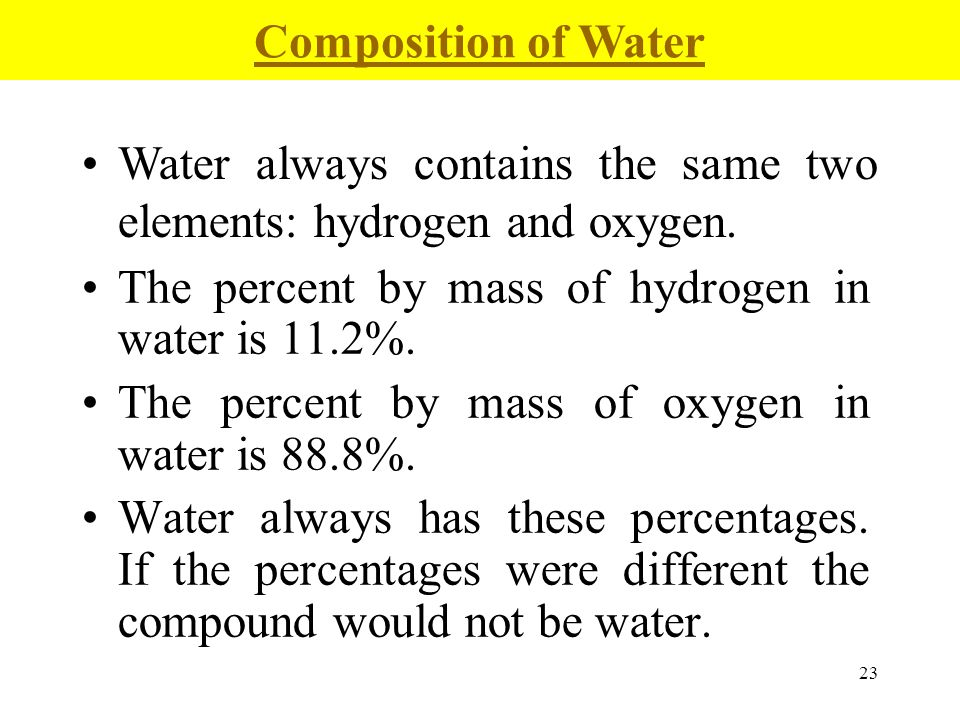 23 The percent by mass of hydrogen in water is 11.2%. The percent by mass of oxygen in water is 88.8%. Water always has these percentages. If the perc