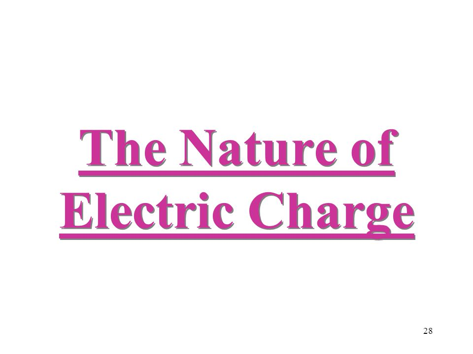 28 The Nature of Electric Charge