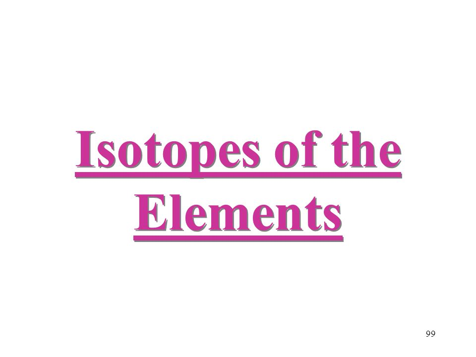 99 Isotopes of the Elements