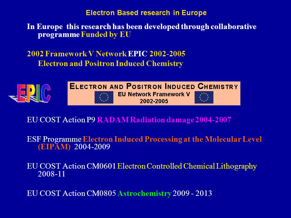 In Europe this research has been developed through collaborative programme Funded by EU 2002 Framework V Network EPIC 2002-2005 Electron and Positron