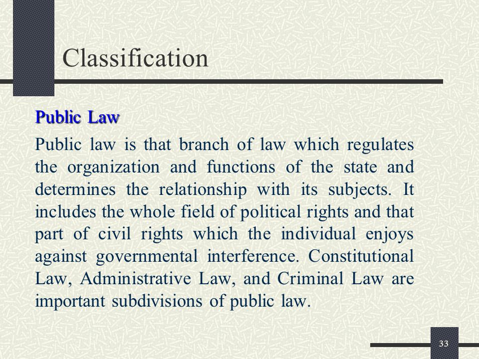 32 Classification The relation with the state is concerned include those of person to person, person to state and state to state. On this basis law ma