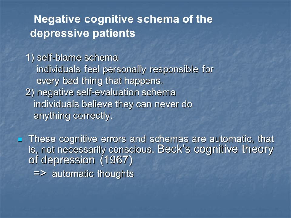 Negative cognitive schema of the depressive patients 1) self-blame schema 1) self-blame schema individuals feel personally responsible for individuals