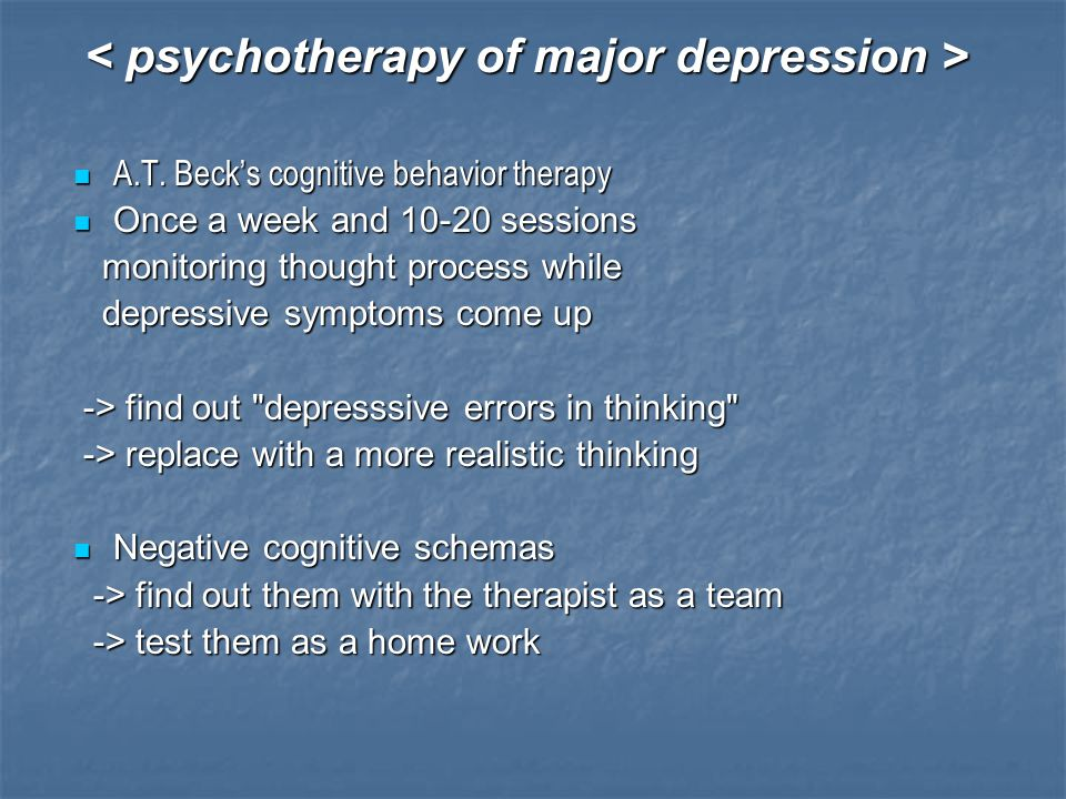 A.T. Beck's cognitive behavior therapy A.T. Beck's cognitive behavior therapy Once a week and 10-20 sessions Once a week and 10-20 sessions monitoring