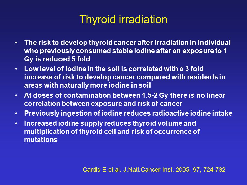 Thyroid irradiation The risk to develop thyroid cancer after irradiation in individual who previously consumed stable iodine after an exposure to 1 Gy is reduced 5 fold Low level of iodine in the soil is correlated with a 3 fold increase of risk to develop cancer compared with residents in areas with naturally more iodine in soil At doses of contamination between 1.5-2 Gy there is no linear correlation between exposure and risk of cancer Previously ingestion of iodine reduces radioactive iodine intake Increased iodine supply reduces thyroid volume and multiplication of thyroid cell and risk of occurrence of mutations Cardis E et al.