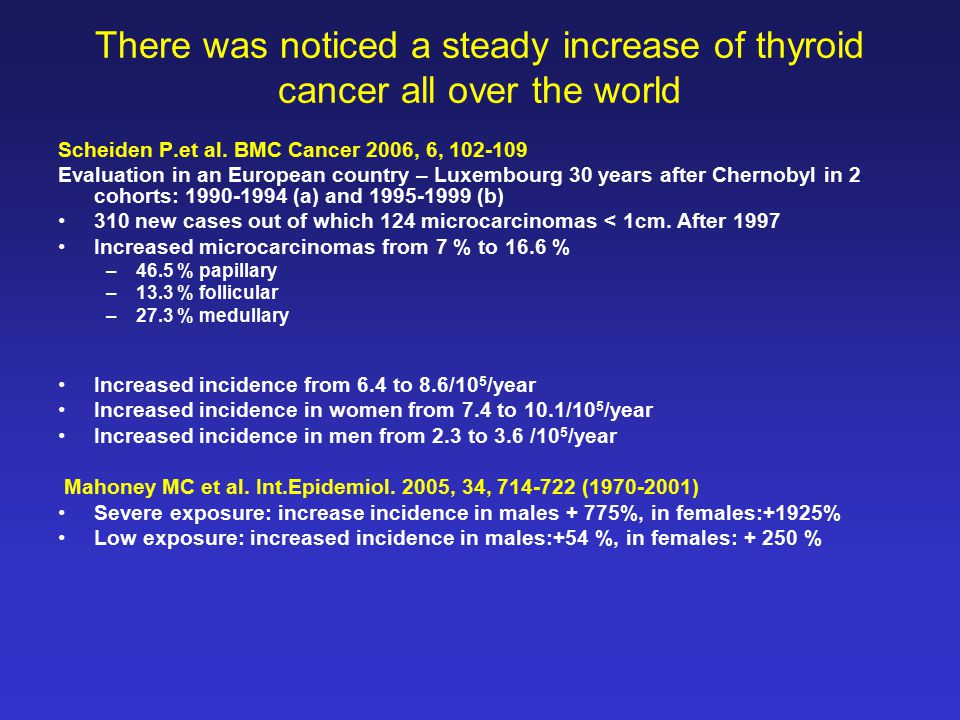 There was noticed a steady increase of thyroid cancer all over the world Scheiden P.et al.