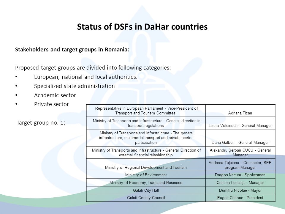 Status of DSFs in DaHar countries Stakeholders and target groups in Romania: Proposed target groups are divided into following categories: European, national and local authorities.