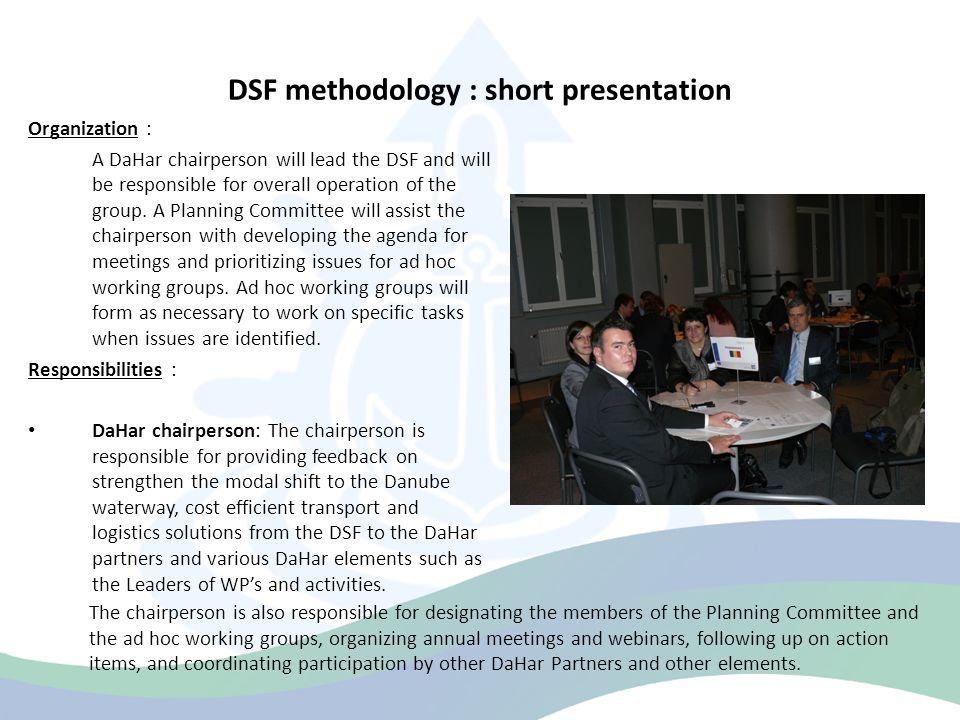 DSF methodology : short presentation Responsibilities : DaHar representatives: representatives of the DaHar Partners with ongoing or upcoming activities will attend the meetings and provide comprehensive information regarding their plans, identify a single point of contact for information on WP's and activities, serve on ad hoc working groups as requested, and respond to stakeholder requests for information in a timely manner.