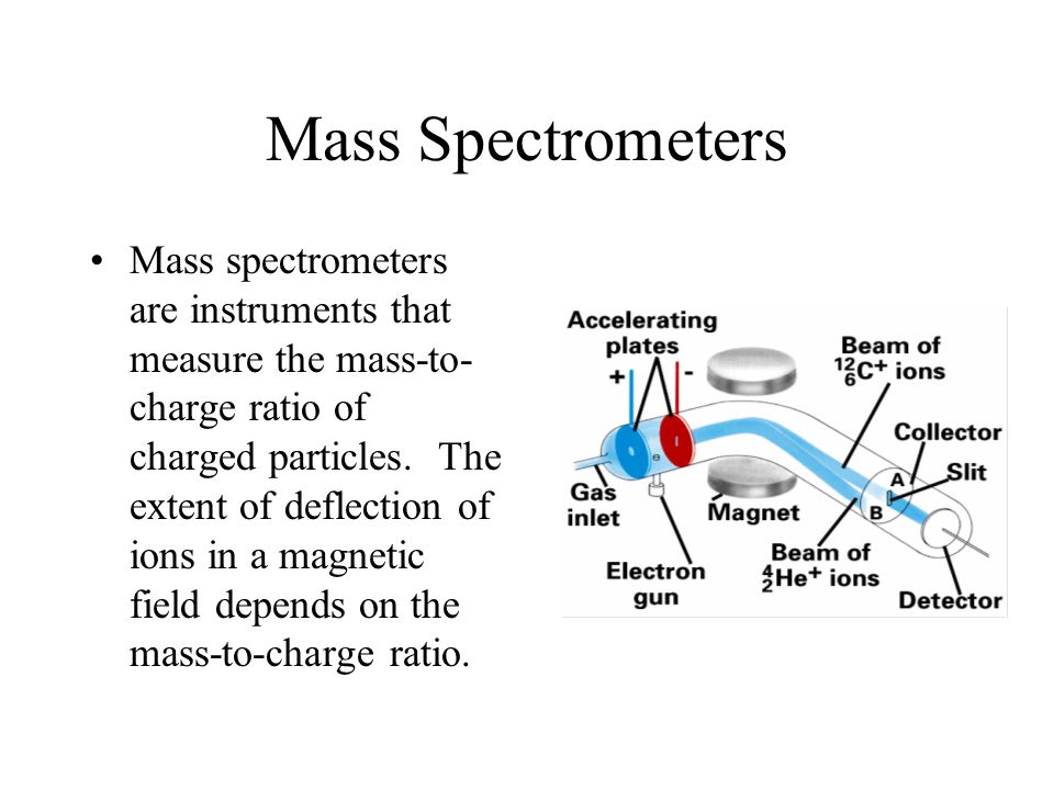 Mass Spectrometers Mass spectrometers are instruments that measure the mass-to- charge ratio of charged particles.