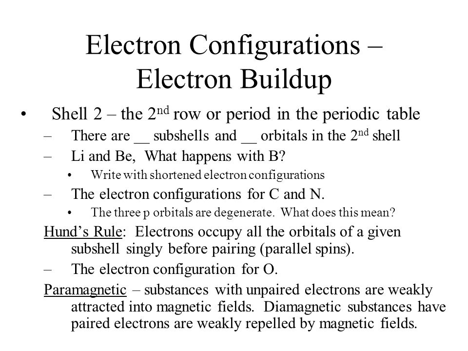 Electron Configurations – Electron Buildup Shell 2 – the 2 nd row or period in the periodic table –There are __ subshells and __ orbitals in the 2 nd shell –Li and Be, What happens with B.
