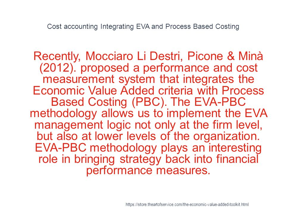 Cost accounting Integrating EVA and Process Based Costing 1 Recently, Mocciaro Li Destri, Picone & Minà (2012). proposed a performance and cost measur