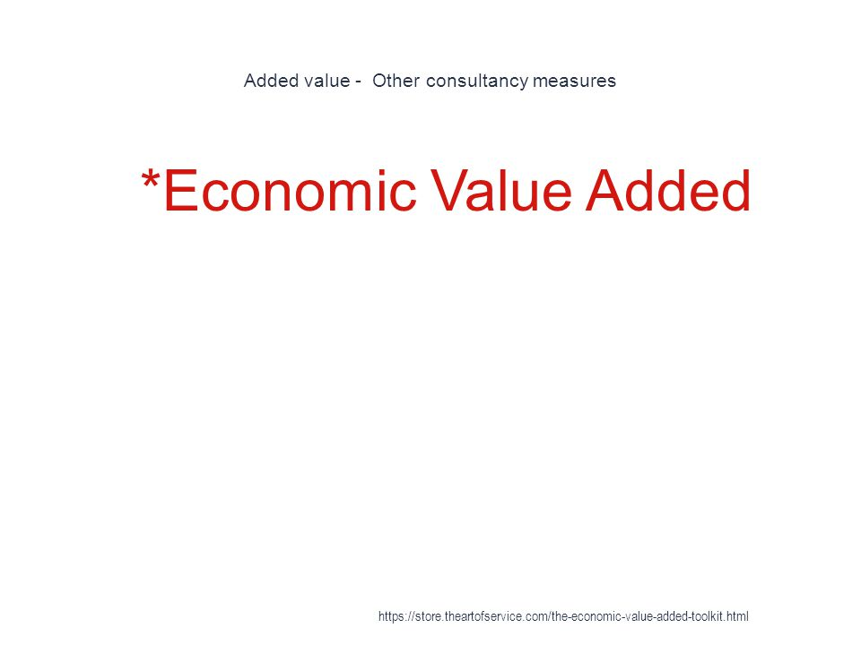 Added value - Other consultancy measures 1 *Economic Value Added https://store.theartofservice.com/the-economic-value-added-toolkit.html