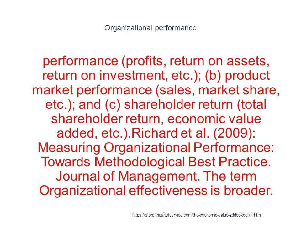 Organizational performance 1 performance (profits, return on assets, return on investment, etc.); (b) product market performance (sales, market share,