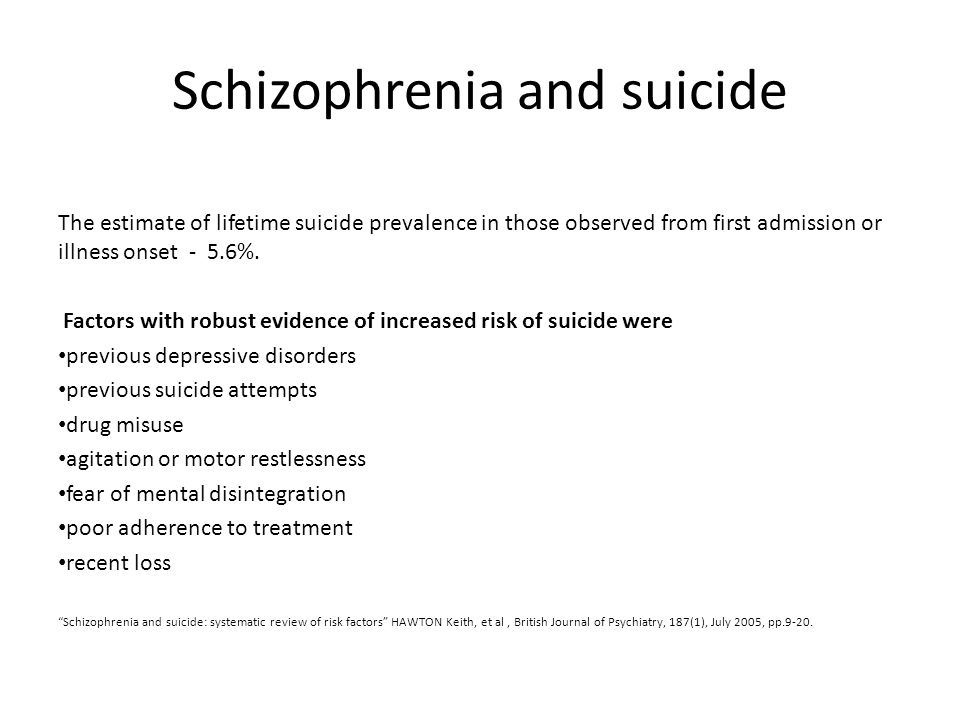 Schizophrenia and suicide The estimate of lifetime suicide prevalence in those observed from first admission or illness onset - 5.6%. Factors with rob