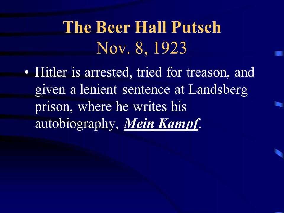The Beer Hall Putsch Nov.