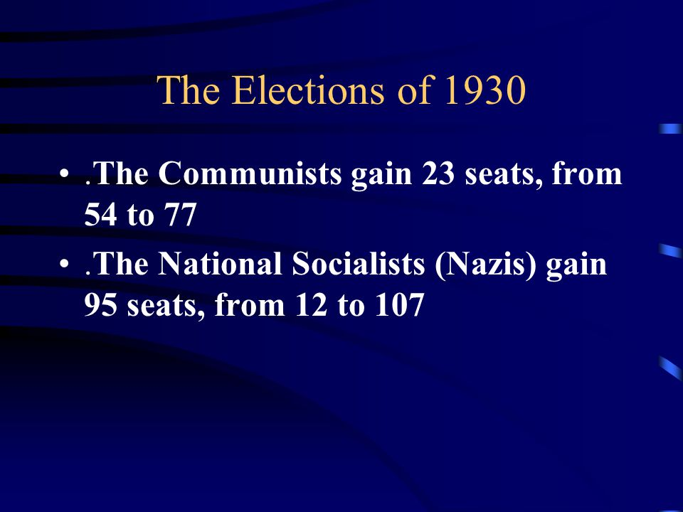 The Elections of 1930.The Communists gain 23 seats, from 54 to 77.The National Socialists (Nazis) gain 95 seats, from 12 to 107