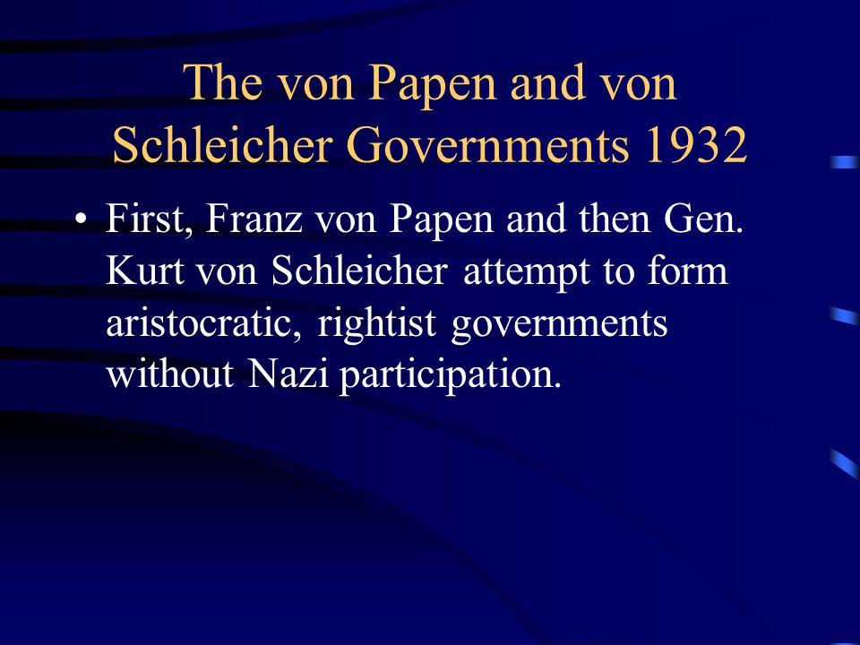 The von Papen and von Schleicher Governments 1932 First, Franz von Papen and then Gen.