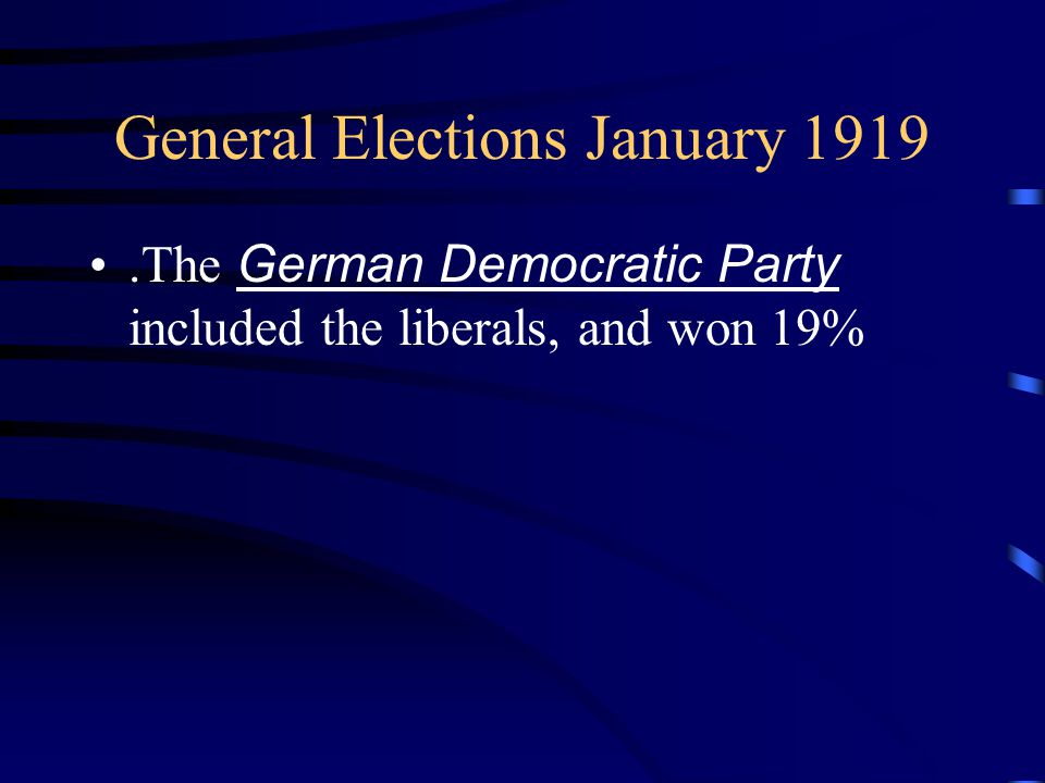 General Elections January 1919.The German Democratic Party included the liberals, and won 19%