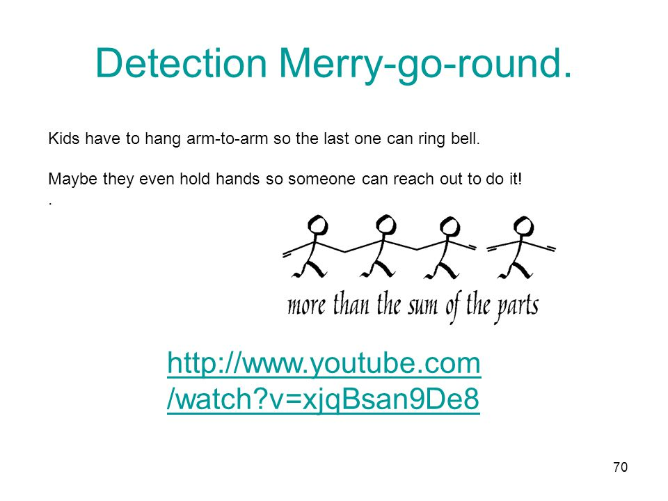 Detection Merry-go-round. Kids have to hang arm-to-arm so the last one can ring bell.